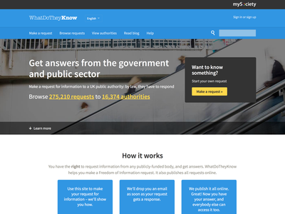A new homepage for WhatDoTheyKnow tech open government source sans civic foi