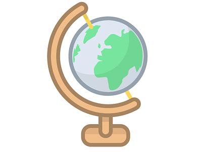 Global toy desk globe earth simple line illustration
