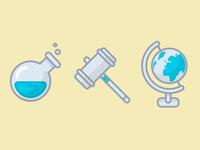 Jar, gavel, globe