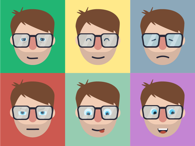 Self portraits emotion expression glasses man person face