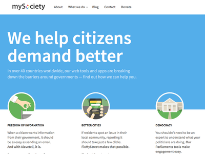 New homepage for mysociety.org uk source sans icons citizen tech civic charity mysociety