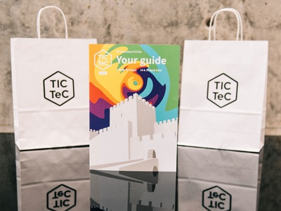 TICTeC event branding booklet programme conference bags print illustration design branding event