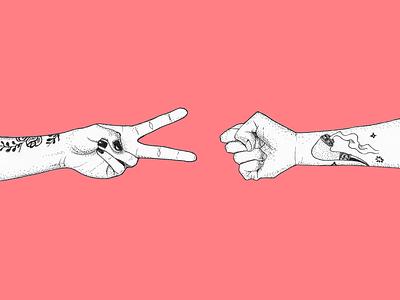 Scissors beats rock drawing tattoo paper scissors rock game hands pen illustration micron