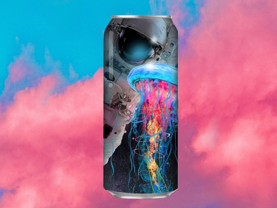 Collective Art Brewing Space Jellyfish beer label pink couds jellyfish astronaut space can beer