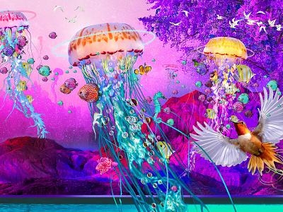 Jellyfish Lake design colorful illustration photoshop