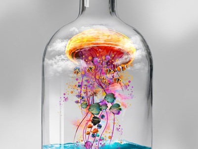 Electric jellyfish in a Bottle