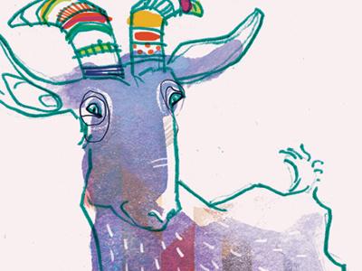 Rainbow Goat colourful wash pencil bright multicolour rainbow farm animal goat illustrated illustrator illustration