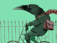 The smart crow on a bicycle