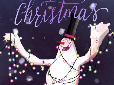 Free Merry Christmas Snowman Screensaver Wallpaper