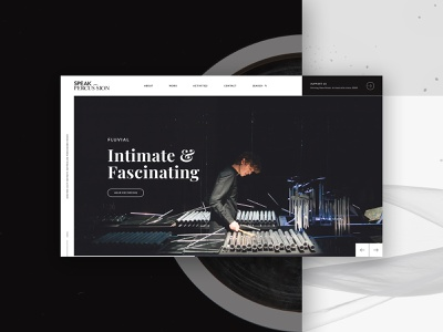 Speak Percussion Homepage Concept uiux musician website user experience music website musician design home page homepage concept australia melbourne web design percussion music website design website ux design ui design ux ui