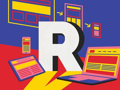 Responsive Design responsive web design ui graphic  design ui ux ux vector illustrator design australia digital art 36 days of type type illustration lettering typography melbourne