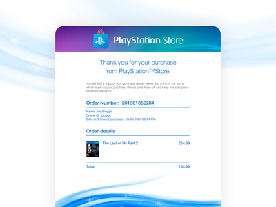 Daily UI 017 email receipt email design emailer email playstation adobe xd ux adobexd design dailyui017 dailyui ui