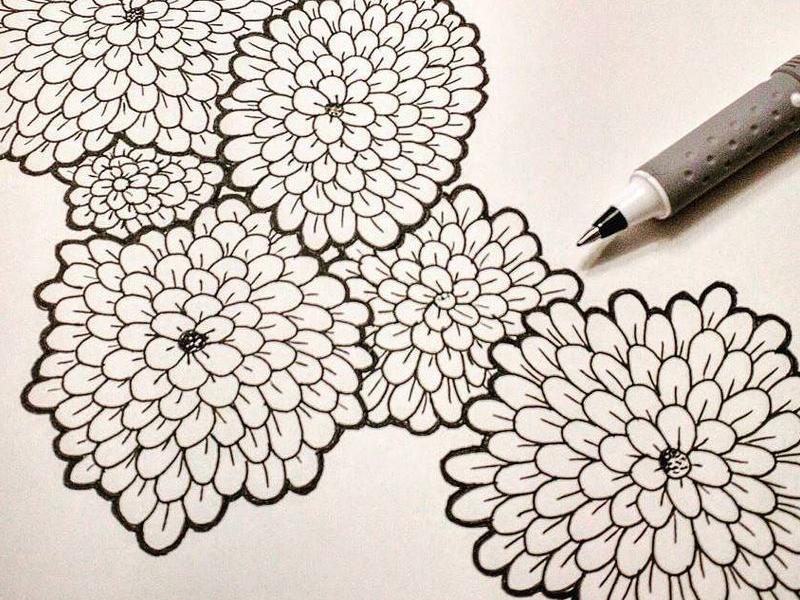 Flower doodle illustration pen wip flowers floral doodle