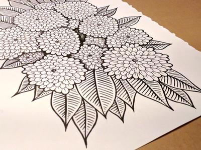 Flower doodle - finished pen illustration flowers floral doodle