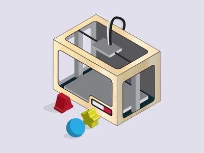 3D Printer 3d printer illustration printer 3d isometric