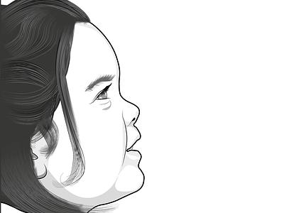 Profile illustration of child - finished vector profile portrait illustrator illustation