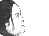 Profile illustration of child - finished