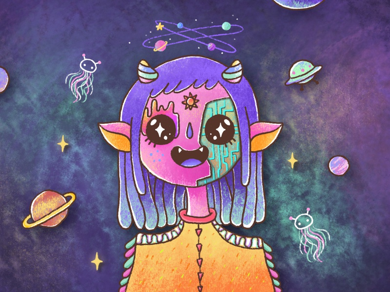 Jelerainbowdra star ufo fantasy character planet universe space galaxy alien colourful painting chalk crayon draw illustration art ipad pro affinitydesigner