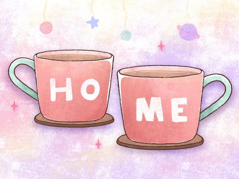 Mugs of love love morning drink coffee mug cute colourful chalk art hand drawing illustration affinity designer ipad pro art
