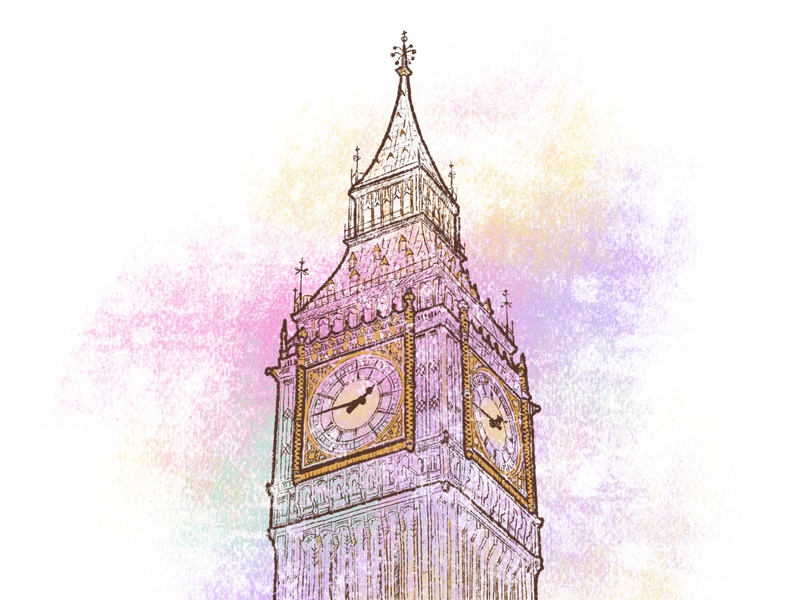 Big Ben building architecture tourism landmark uk london big ben chalk art artwork illustration hand drawing crayon art affinity designer ipad pro art colourful