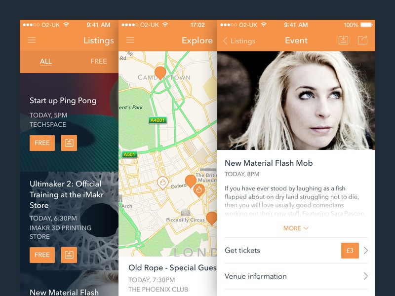 Frugl app iphone ios ui ios7 orange ux mobile application