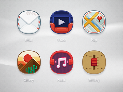 LEWAOS ICONS P1 rex ui icon mobile email music video setting
