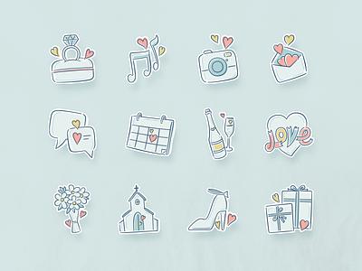 Icons for wedding illustration honeymoon love wedding vintage mobile app china rex icon ui