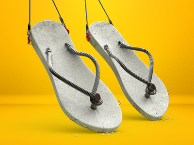 Concrete shoes metal concept concrete advertising photoshop illustration c4d 3d