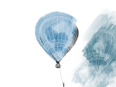 Hot air balloon dreaming graphic design artist concept art illustration