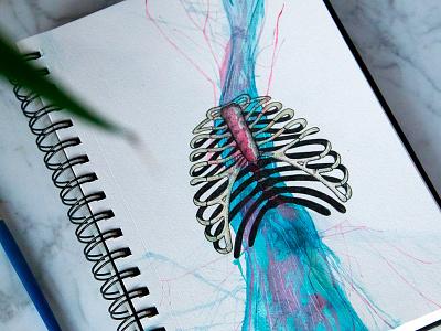 Flush painting mixed media drawing skeleton ribcage watercolor watercolour