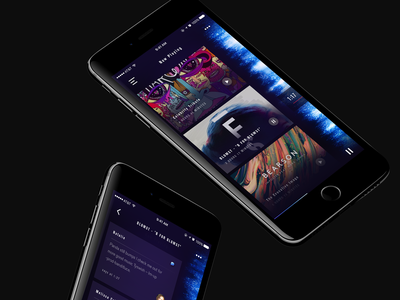 Music mini player animation transition comment wave cards player music concept app ux ui