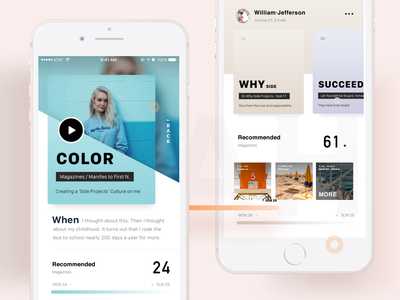 I'm Back and Two invitations idea transition color navigation concept card app