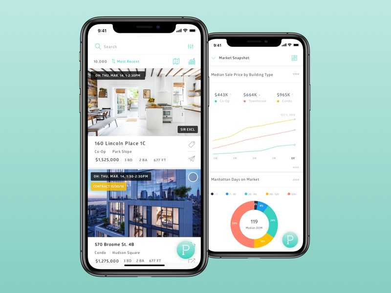 Real Estate App for professionals and consumers feed cards ui data real estate ux ui app design