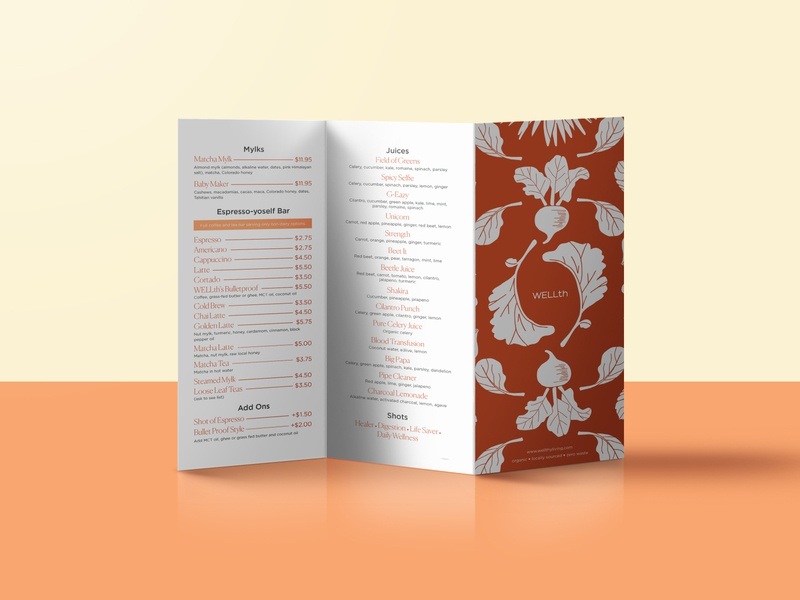 Wellth Menu trifold menu design menu restaurant brand hand drawn branding graphic design identity design