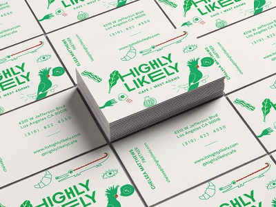 Highly Likely Business Cards typography hand drawn logo identity illustration restaurant business cards design