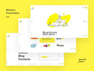 Geometric Digital Agency logo icon illustration branding website clean webdesign ux ui minimal