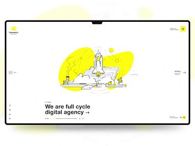 Geometric Digital Agency geometric digital circle agency white rocket yellow animation motion illustration branding website clean webdesign ux ui minimal