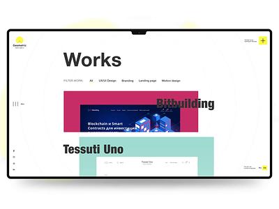 Portfolio Page portfolio page motion dev developer studio digital agency web yellow illustration branding website clean webdesign ux ui minimal