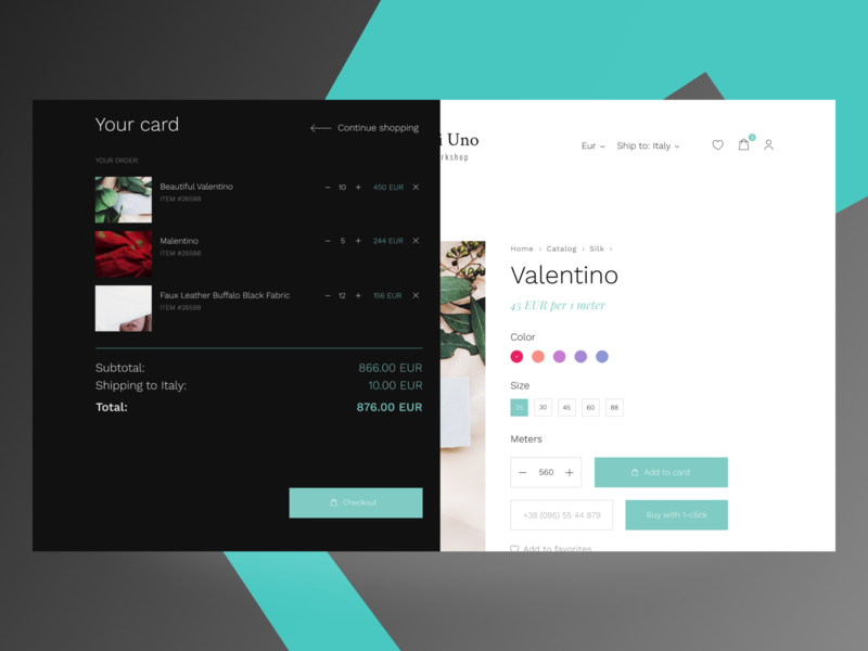 TessutiUno Card shopping app online shop store ecommerce popup checkout card website clean webdesign ux ui minimal