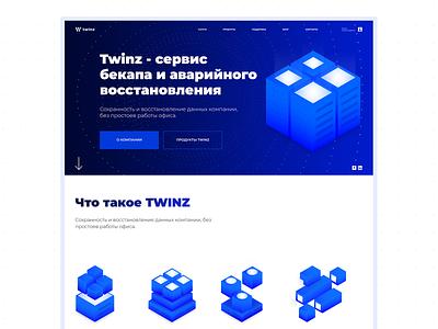 Twinz - Backup Service transfer replication backup database server branding website clean webdesign ux ui minimal