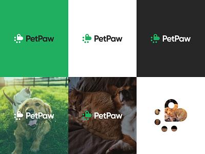 PetPaw - Use of logo icon animal logo cat dog pets animal paw pet design ui app branding logo