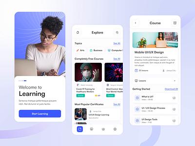 Online Education App education interface online lesson application app mobile design ui design ux ui online education app
