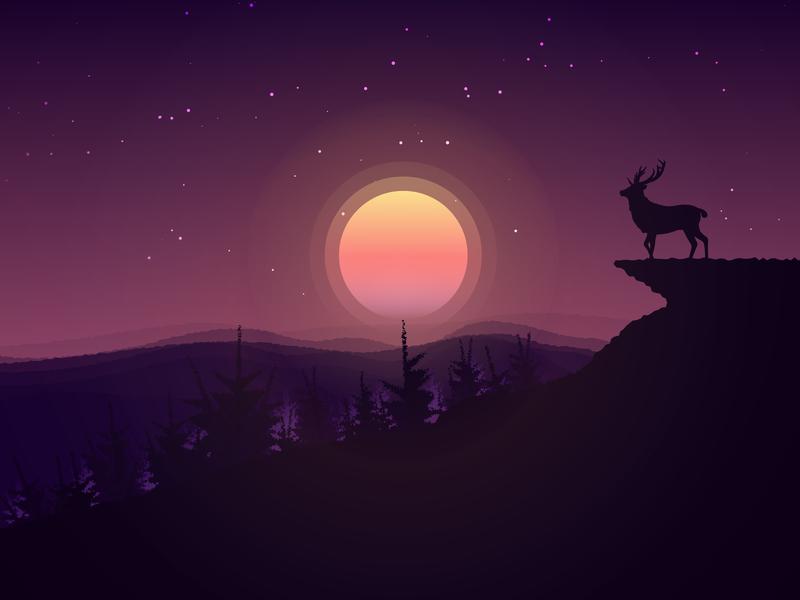 Lonely Deer character design deer sun mountain illustration digital art