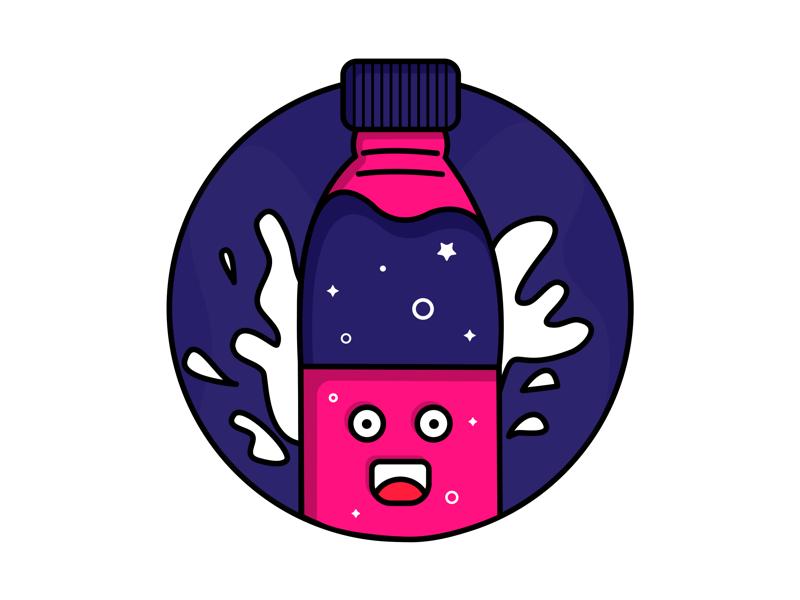🥤 color smile bottle fruit coffee icon flat illustration animation water
