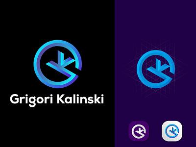 Grigor GK Letter logo futuristic logo lettering logo design typogaphy logo tranding logo modern logo minimal icon grandient creative logo branding app