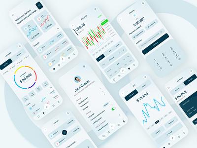crypto mobile app design crypto flat illustration clean app uxui user experience user interface crypto mobile app design minimal ux design graphic design ui