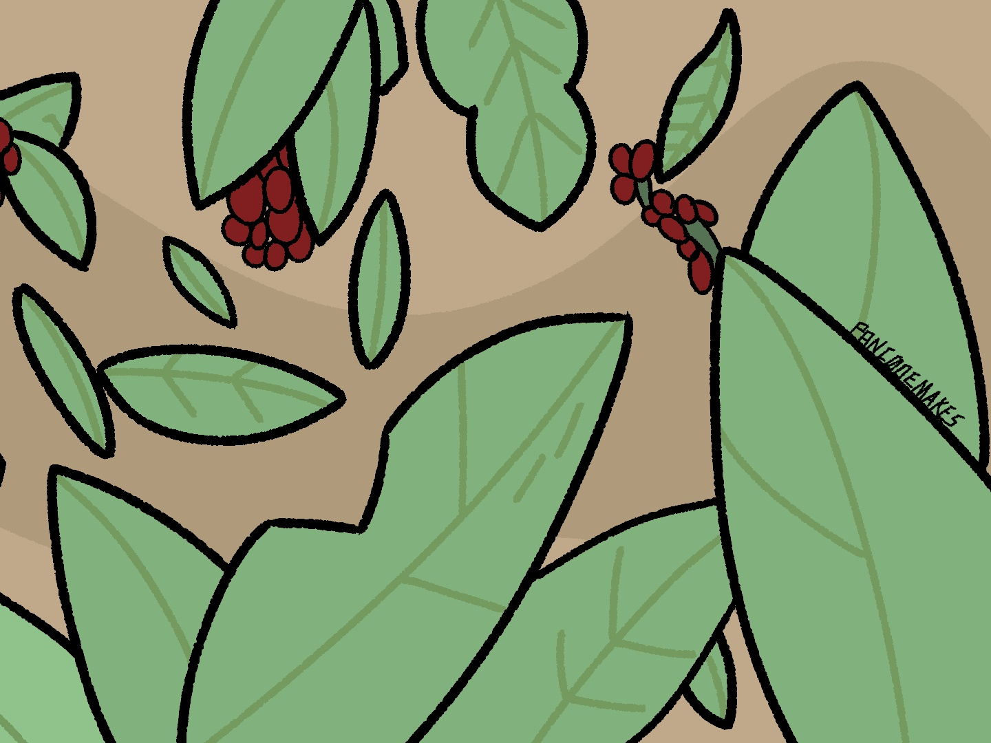 Plant Exercise Illustration greenery berries clip studio paint plants illustration simple