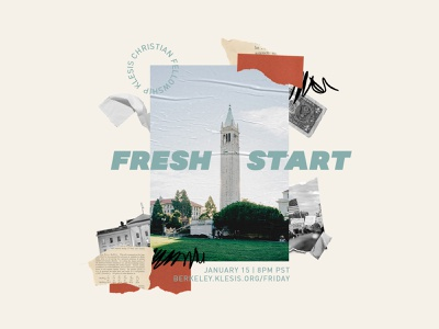 Fresh Start: New Student Welcome Night collage flyer bible fellowship christian berkeley cal ministry college