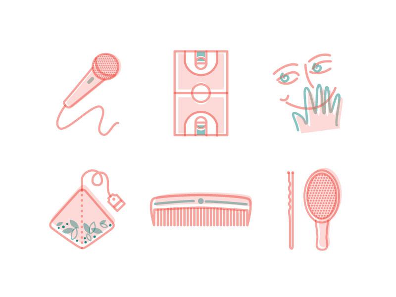 Fun Illustrations! graphic vector girl illustration hair tea taboo basketball singing