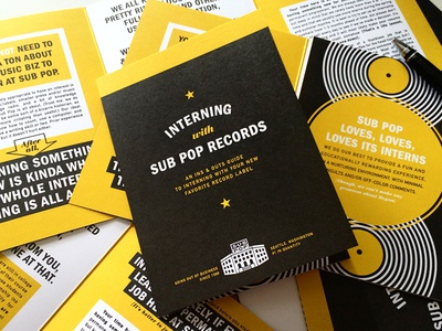 Interning with Sub Pop Guide handout guide trifold music industry music interning intern brochure